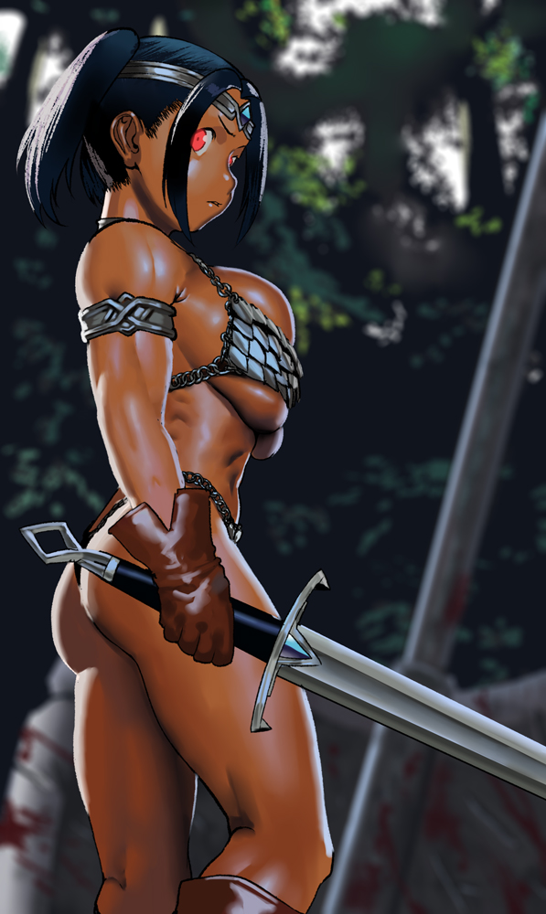 1girl alternate_eye_color armlet armor arung_samudra_(cessa) ass bikini bikini_armor boots breasts brown_footwear brown_gloves bursting_breasts cessa circlet dark-skinned_female dark_skin english_commentary fantasy forehead_jewel forest gloves glowing glowing_eyes holding holding_sword holding_weapon knee_boots kneepits large_breasts leather leather_gloves muscular muscular_female nature ombok_diving_and_delivery_services red_eyes serious shiny shiny_skin short_hair short_twintails solo swimsuit sword thick_thighs thighs thong_bikini twintails under_boob undersized_clothes very_dark_skin weapon zweihander