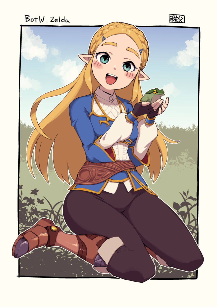 1girl :d blonde_hair blue_jacket blush boots brown_footwear brown_pants character_name chichibu_(chichichibu) commentary_request copyright_name fingerless_gloves frog gloves green_eyes hair_ornament hairclip hands_up highres holding jacket long_hair looking_at_viewer open_mouth pants pointy_ears princess_zelda shirt sitting smile solo the_legend_of_zelda the_legend_of_zelda:_breath_of_the_wild tongue upper_teeth white_shirt