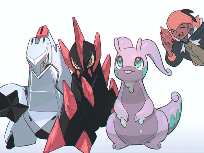 1boy black_hair black_hoodie closed_eyes dark-skinned_male dark_skin duraludon earrings fang gen_4_pokemon gen_5_pokemon gen_6_pokemon gen_8_pokemon gigalith goodra gym_leader hand_up holding holding_phone hood hoodie jewelry looking_up male_focus mikripkm open_mouth orange_headwear phone photo-referenced pokemon pokemon_(creature) pokemon_(game) pokemon_swsh raihan_(pokemon) rotom rotom_phone short_hair smile tongue tongue_out undercut white_background |d