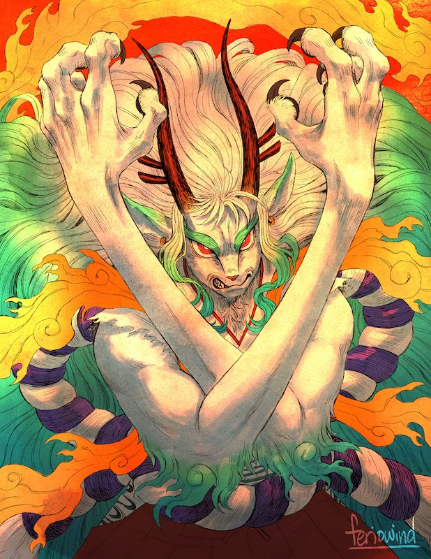 1girl alternate_form angry animal_ears animal_nose artist_name biceps big_hair body_fur claws clenched_teeth commentary cowboy_shot earrings english_commentary eyebrows feriowind fire furry green_fur green_hair hakama hands_up horns japanese_clothes jewelry kimono long_arms looking_at_viewer multicolored_horns one_piece red_eyes red_horns rope shimenawa sidelocks sleeveless sleeveless_kimono snout solo spoilers teeth two-tone_fur v-shaped_eyebrows white_fur white_hair yamato_(one_piece) yellow_horns