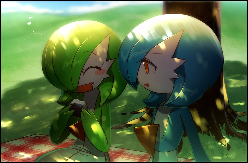 2girls ^_^ alternate_color bangs black_border blue_hair blue_skin blue_sky blurry blurry_background blush blush_stickers bob_cut border closed_eyes clouds colored_skin commentary dappled_sunlight day eating eyebrows_visible_through_hair flat_chest food food_bite food_on_face gardevoir gen_3_pokemon grass green_hair green_skin hair_over_one_eye hands_up happy holding holding_food looking_at_another lotosu multicolored multicolored_skin multiple_girls musical_note onigiri open_mouth orange_eyes outdoors picnic pokemon pokemon_(creature) rice rice_on_face rug shiny shiny_hair shiny_pokemon short_hair sideways_mouth sitting sky smile sunlight tree two-tone_skin under_tree upper_body white_skin
