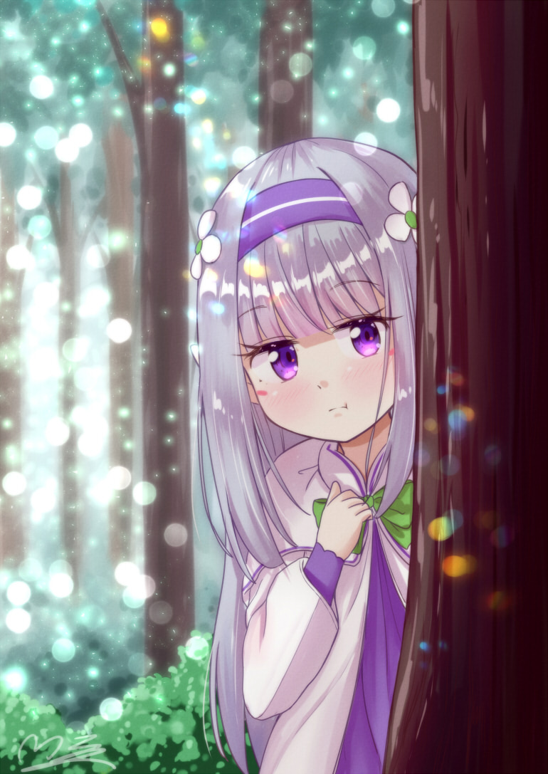 1girl bangs blunt_bangs blurry blush_stickers bow bowtie commentary_request depth_of_field emilia_(re:zero) eyebrows_visible_through_hair forest hair_ornament hairband long_hair looking_at_viewer m_ko_(maxft2) nature peeking_out pointy_ears pout re:zero_kara_hajimeru_isekai_seikatsu sidelocks silver_hair solo tree violet_eyes