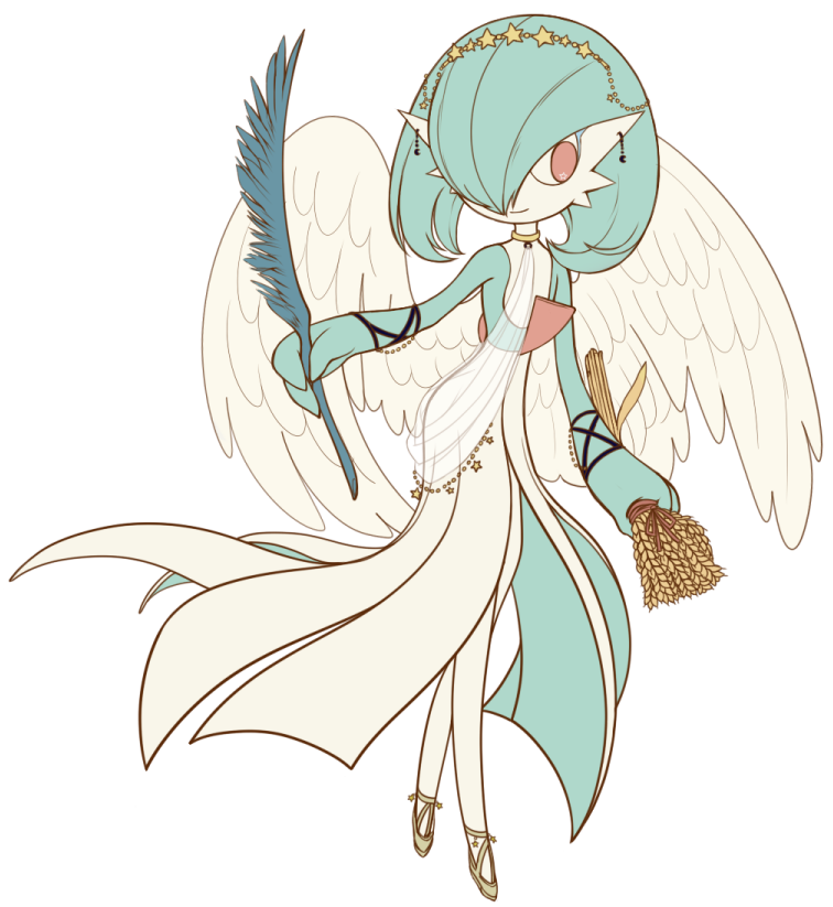 1girl angel_wings bangs blank_eyes blue_eyeliner bob_cut circlet closed_mouth clothed_pokemon colored_skin commentary crescent crescent_earrings earrings eyeliner feathered_wings feathers flat_chest flat_color full_body gardevoir gen_3_pokemon green_hair green_skin hair_over_one_eye happy holding holding_feather jewelry looking_to_the_side lotosu makeup multicolored multicolored_skin pokemon pokemon_(creature) red_eyes shoes short_hair simple_background smile solo standing star_(symbol) star_in_eye symbol_in_eye two-tone_skin wheat white_background white_skin white_wings wings wristband yellow_footwear