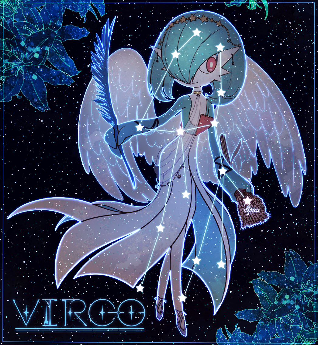 1girl angel_wings bangs black_background blue_border blue_eyeliner blue_flower blue_outline bob_cut border bright_pupils circlet closed_mouth clothed_pokemon colored_skin commentary constellation crescent crescent_earrings earrings english_text eyeliner feathered_wings feathers flat_chest flower full_body gardevoir gen_3_pokemon green_hair green_skin hair_over_one_eye happy holding holding_feather jewelry looking_to_the_side lotosu makeup multicolored multicolored_skin night outline pokemon pokemon_(creature) purple_footwear red_eyes shoes short_hair sky smile solo standing star_(sky) star_(symbol) star_in_eye starry_sky symbol_in_eye two-tone_skin virgo wheat white_pupils white_skin white_wings wings wristband