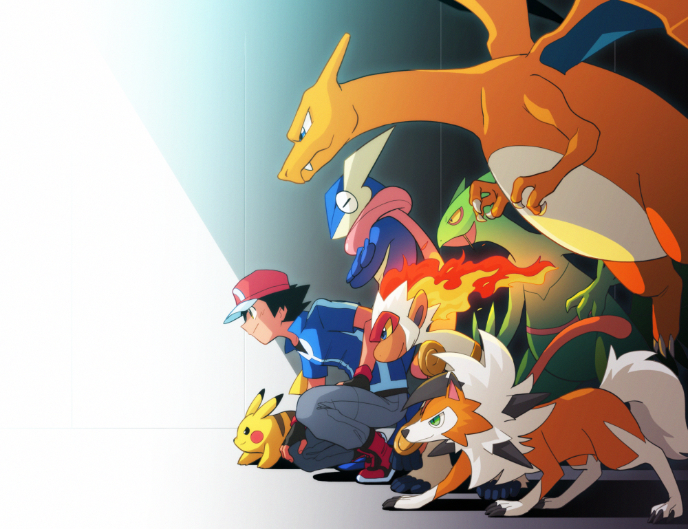 1boy ash_ketchum baseball_cap black_gloves black_hair blue_jacket charizard claws closed_mouth commentary_request dododo_dadada fang fang_out fingerless_gloves fire from_side gen_1_pokemon gen_3_pokemon gen_4_pokemon gen_6_pokemon gen_7_pokemon gloves greninja grey_pants hat infernape jacket lycanroc lycanroc_(dusk) male_focus pants pikachu pokemon pokemon_(anime) pokemon_(creature) pokemon_xy_(anime) red_footwear red_headwear sceptile shadow shoes short_hair short_sleeves smile squatting