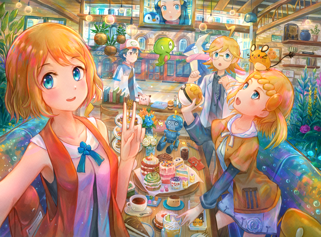 2boys 2girls ahoge ash_ketchum bangs bare_arms baseball_cap bench black_shirt blonde_hair blue_eyes blue_ribbon blush bonnie_(pokemon) book brother_and_sister character_doll clefairy clembot_(pokemon) clemont_(pokemon) collarbone commentary_request cup dawn_(pokemon) dedenne dress eyebrows_visible_through_hair eyelashes food gen_1_pokemon gen_4_pokemon gen_6_pokemon glasses greninja grey_vest hand_up hat holding holding_poke_ball indoors jacket kutsunohito legendary_pokemon looking_at_viewer monitor multiple_boys multiple_girls necktie on_head open_clothes open_jacket open_mouth orange_hair pants piplup plant plate poke_ball pokemon pokemon_(anime) pokemon_(creature) pokemon_dppt_(anime) pokemon_m21 pokemon_on_head pokemon_xy_(anime) potted_plant ribbon round_eyewear saucer selfie serena_(pokemon) shelf shirt short_hair short_sleeves siblings sleeveless smile table teacup tongue upper_teeth v vest zygarde zygarde_core