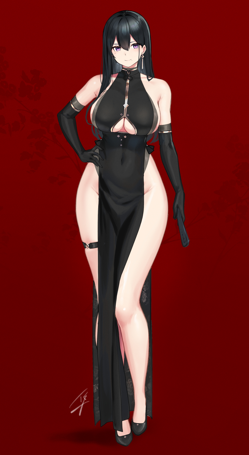 1girl bangs bare_shoulders black_dress black_footwear black_gloves black_hair blush breasts china_dress chinese_clothes closed_mouth clothing_cutout commentary_request dress elbow_gloves full_body gloves hair_between_eyes hayabusa high_heels highres large_breasts long_hair long_legs looking_at_viewer mole mole_on_breast mole_under_eye mole_under_mouth original pelvic_curtain red_background sideboob thigh_strap under_boob underboob_cutout very_long_hair violet_eyes