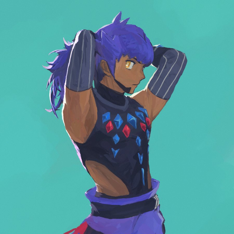 1boy armpits arms_behind_head bangs belt black_belt black_bodysuit black_gloves bodysuit bright_pupils closed_mouth commentary dark-skinned_male dark_skin elbow_gloves english_commentary facial_hair gloves go-lurk green_background leon_(pokemon) long_hair looking_to_the_side male_focus official_alternate_costume pokemon pokemon_(game) pokemon_masters_ex purple_hair simple_background solo white_pupils yellow_eyes
