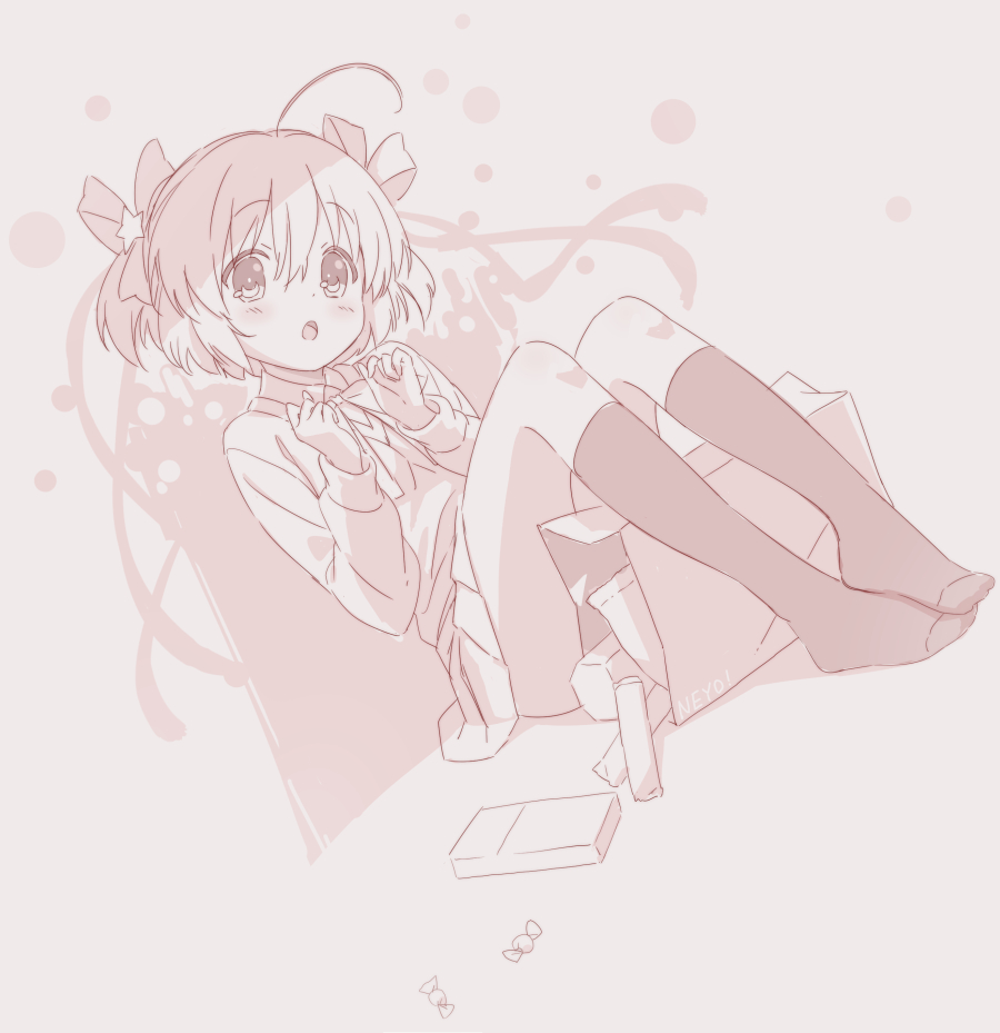 1girl ahoge artist_name bag bangs blush bow brown_background collared_shirt commentary copyright_request dutch_angle eyebrows_visible_through_hair hair_between_eyes hair_bow hair_ornament hands_up jigatei_(omijin) knees_up long_sleeves looking_at_viewer monochrome no_shoes open_mouth paper_bag pleated_skirt shirt signature sitting skirt socks solo star_(symbol) star_hair_ornament sweater symbol_commentary