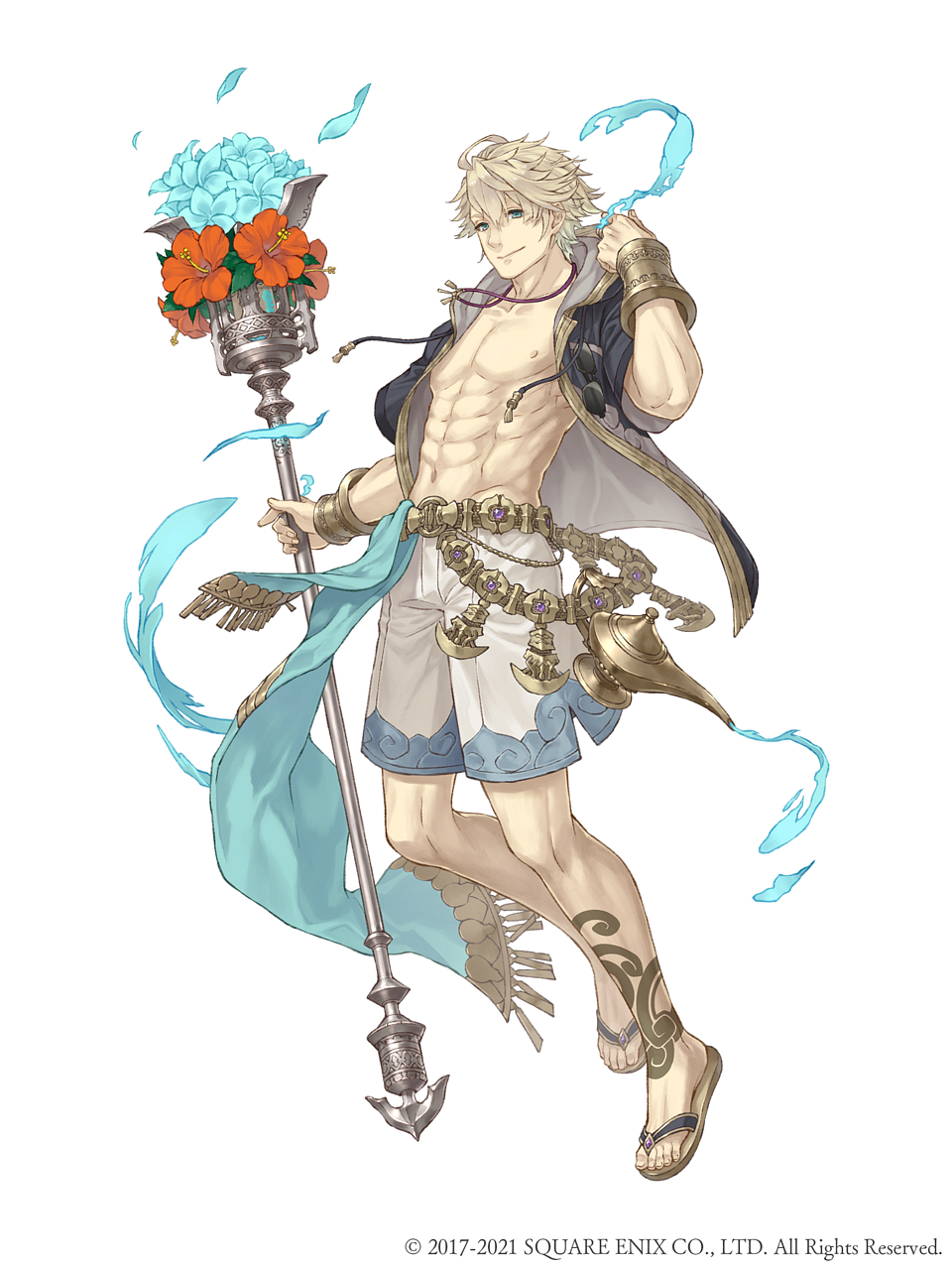 1boy abs ahoge aladdin_(sinoalice) blonde_hair blue_eyes bouquet bracer flower full_body highres holding holding_staff jewelry ji_no looking_at_viewer necklace official_art oil_lamp petals sandals shorts sinoalice smile solo square_enix staff sunglasses tattoo white_background