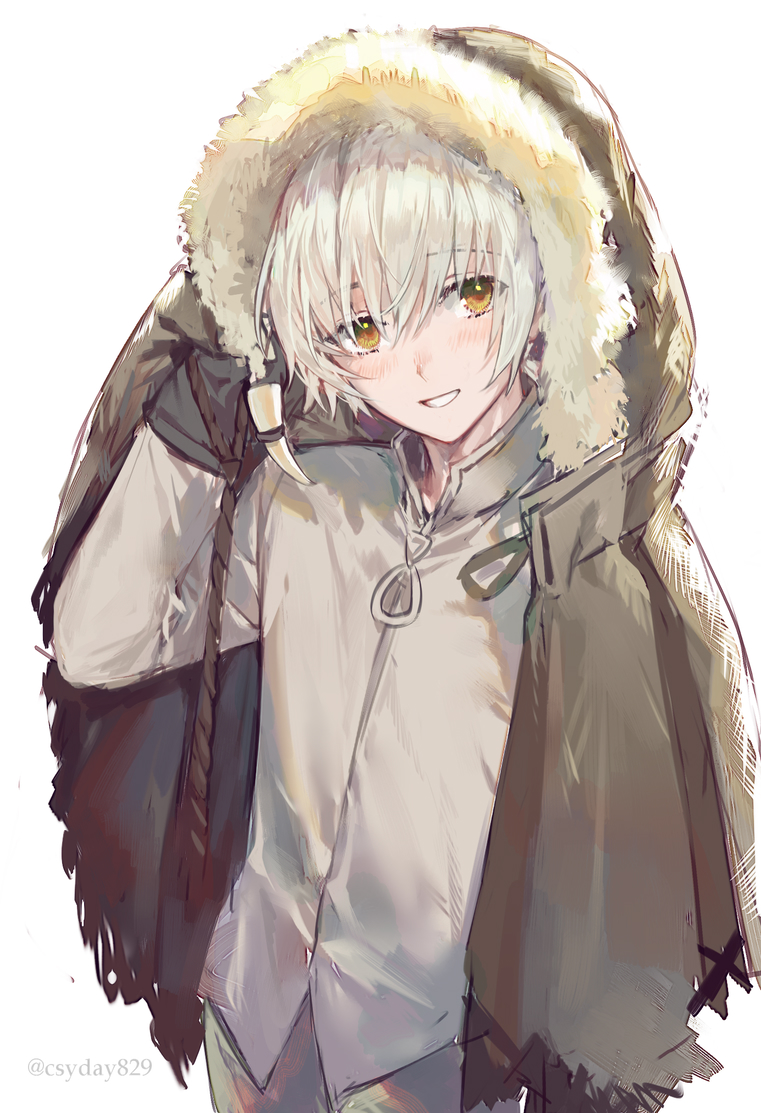 1boy :d arm_up bangs blush brown_coat brown_eyes brown_pants coat collared_shirt commentary_request cowboy_shot crossed_bangs csyday eyebrows_behind_hair fumetsu_no_anata_e fur-trimmed_hood fur_trim hair_between_eyes hair_over_face hood hood_up hooded_coat long_sleeves looking_at_viewer male_focus messy_hair nose_blush open_mouth pants sanpaku shirt short_hair sidelocks simple_background smile solo tsurime twitter_username white_background white_hair white_shirt