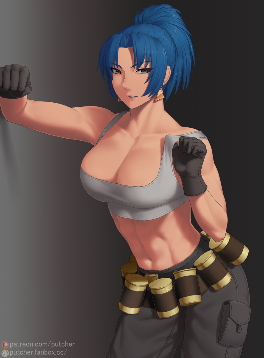1girl abs adjusting_clothes bare_shoulders belt biceps black_gloves blue_eyes blue_hair breasts collarbone earrings eyes gas_can gloves highres jewelry leona_heidern midriff muscular muscular_female pants ponytail pouch putcher simple_background single_glove sleeveless smile solo standing tank_top the_king_of_fighters the_king_of_fighters_xv triangle_earrings white_tank_top