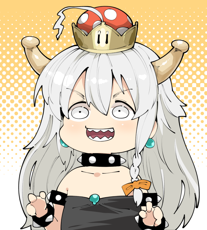 1girl :d black_dress blush bow bowsette bracelet braid character_request chibi collar dress earrings hair_bow halftone halftone_background horns idolmaster jewelry long_hair looking_at_viewer super_mario_bros. new_super_mario_bros._u_deluxe open_mouth orange_bow sharp_teeth smile solo spiked_bracelet spiked_collar spikes strapless strapless_dress super_crown symbol_commentary takato_kurosuke teeth upper_body white_eyes white_hair