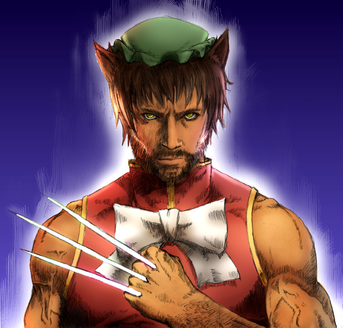 chen chen_(cosplay) claws cosplay crossover marvel mitsuki_yuuya muscle parody short_hair solo touhou wolverine x-men