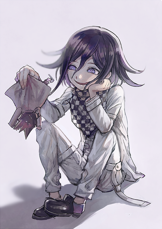 2boys aoki_(fumomo) bangs black_footwear black_hair checkered checkered_neckwear checkered_scarf chibi commentary_request dangan_ronpa_(series) dangan_ronpa_v3:_killing_harmony evil_smile flipped_hair full_body grey_background grey_jacket grey_pants hand_on_own_cheek hand_on_own_face holding_another jacket looking_at_another male_focus momota_kaito multiple_boys open_mouth ouma_kokichi pants pink_jacket purple_hair scarf shoes sitting smile sweat violet_eyes