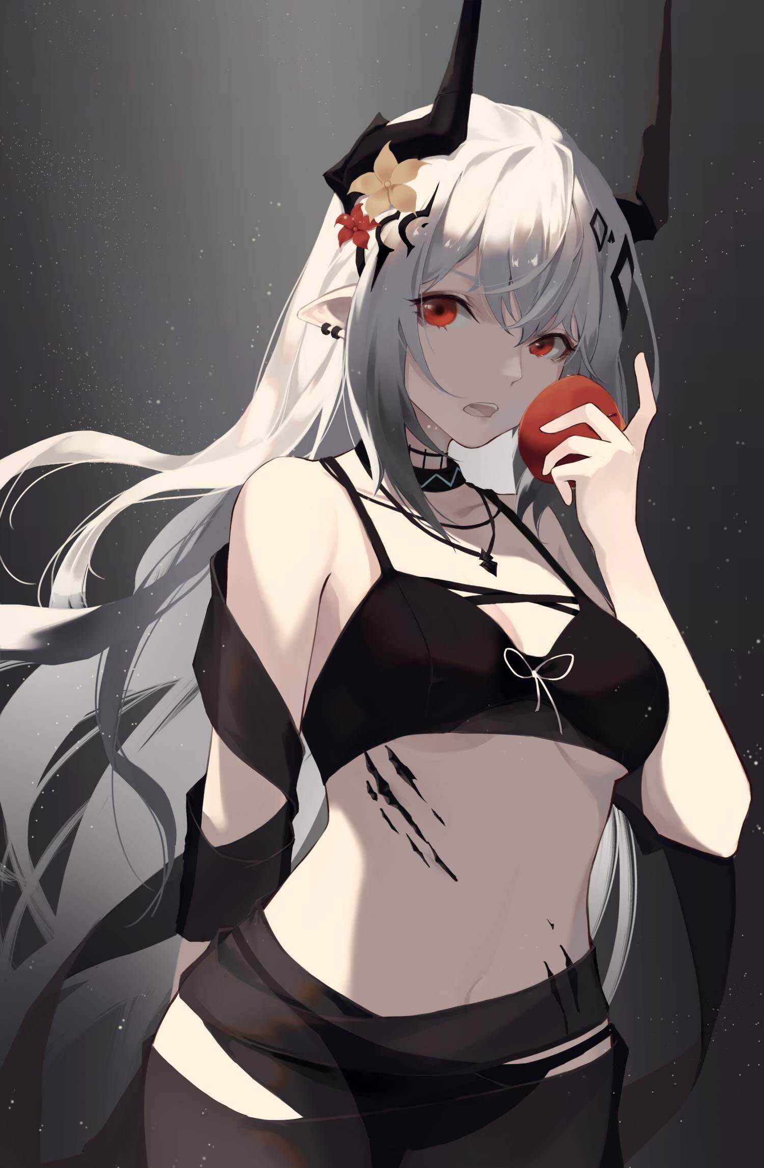 1girl arknights bangs bare_shoulders bikini black_bikini black_choker breasts choker flower food fruit grey_background hair_flower hair_ornament hand_up highres holding holding_food holding_fruit horns jewelry long_hair looking_at_viewer medium_breasts mudrock_(arknights) mudrock_(silent_night)_(arknights) necklace open_mouth oripathy_lesion_(arknights) pointy_ears qingjiujiu red_eyes silver_hair solo stomach swimsuit upper_body very_long_hair
