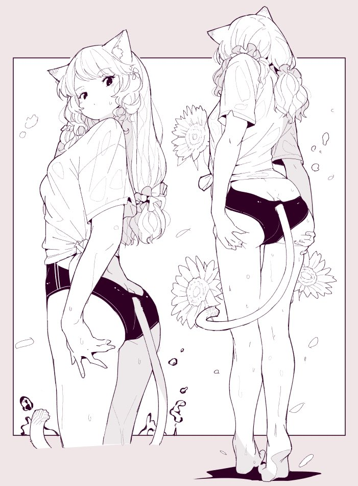 1girl animal_ears ass ass_support bangs barefoot breasts cat_ears cat_girl cat_tail curly_hair eyebrows_visible_through_hair flower hair_ornament hair_scrunchie leoharju long_hair low_twintails medium_breasts monochrome multiple_views one-piece_swimsuit original scrunchie shirt simple_background swimsuit swimsuit_under_clothes tail tied_shirt twintails