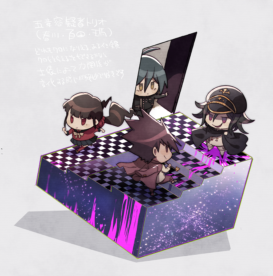 :/ aoki_(fumomo) bangs black_cape black_headwear black_skirt brown_eyes buttons cape checkered checkered_floor checkered_scarf chibi commentary_request dangan_ronpa_(series) dangan_ronpa_v3:_killing_harmony door double-breasted flipped_hair grey_background hair_between_eyes hair_ornament hair_scrunchie harukawa_maki holding holding_pipe jacket jacket_on_shoulders long_hair long_sleeves mole mole_under_eye momota_kaito open_door open_mouth ouma_kokichi pants pink_blood pink_jacket pink_pants pipe red_scrunchie red_shirt running saihara_shuuichi scarf scrunchie serious shirt short_hair simple_background skirt stairs translation_request