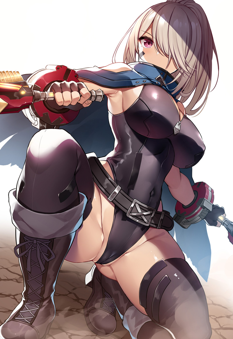 1girl armpits bangs belt black_belt blue_cape boots breasts cape covered_navel dual_wielding fingerless_gloves from_below gloves god_eater god_eater_3 ground hair_over_one_eye high_heel_boots high_heels high_ponytail highleg highleg_leotard holding holding_weapon large_breasts leotard pink_eyes player_(god_eater_3) ponytail squatting thick_thighs thigh-highs thighs weapon white_background wrist_cuffs xe_(execut3r) zipper_pull_tab