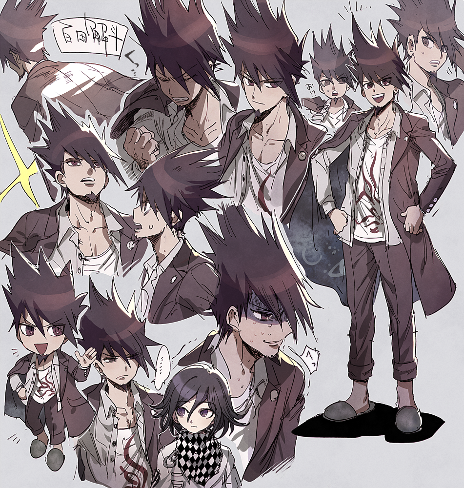2boys :d aoki_(fumomo) bangs brown_hair checkered checkered_neckwear checkered_scarf chibi clenched_hand collarbone commentary_request dangan_ronpa_(series) dangan_ronpa_v3:_killing_harmony expressions facial_hair frown full_body goatee grey_background hair_between_eyes hand_on_hip hand_up hands_on_hips jacket long_hair long_sleeves looking_at_viewer male_focus momota_kaito multiple_boys open_mouth ouma_kokichi pants print_shirt scarf school_uniform shaded_face shirt short_hair simple_background smile solo_focus spiky_hair standing sweat translation_request trembling upper_body white_shirt