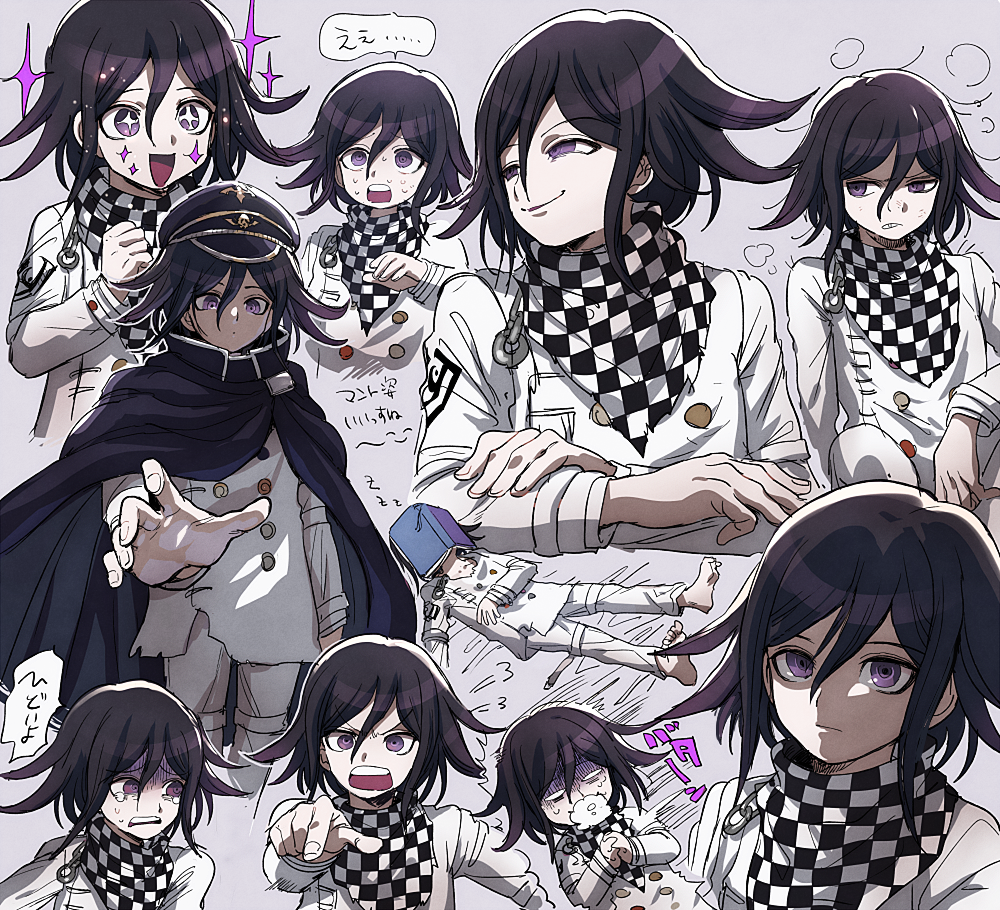 1boy angry aoki_(fumomo) bangs black_headwear book buttons cape checkered checkered_neckwear checkered_scarf clenched_hand commentary_request crossed_arms dangan_ronpa_(series) dangan_ronpa_v3:_killing_harmony double-breasted foaming_at_the_mouth grey_background hair_between_eyes hand_up jacket long_sleeves looking_at_viewer male_focus open_book ouma_kokichi pointing pointing_at_viewer scarf shaded_face short_hair simple_background smile star-shaped_pupils star_(symbol) straitjacket sweat symbol-shaped_pupils violet_eyes