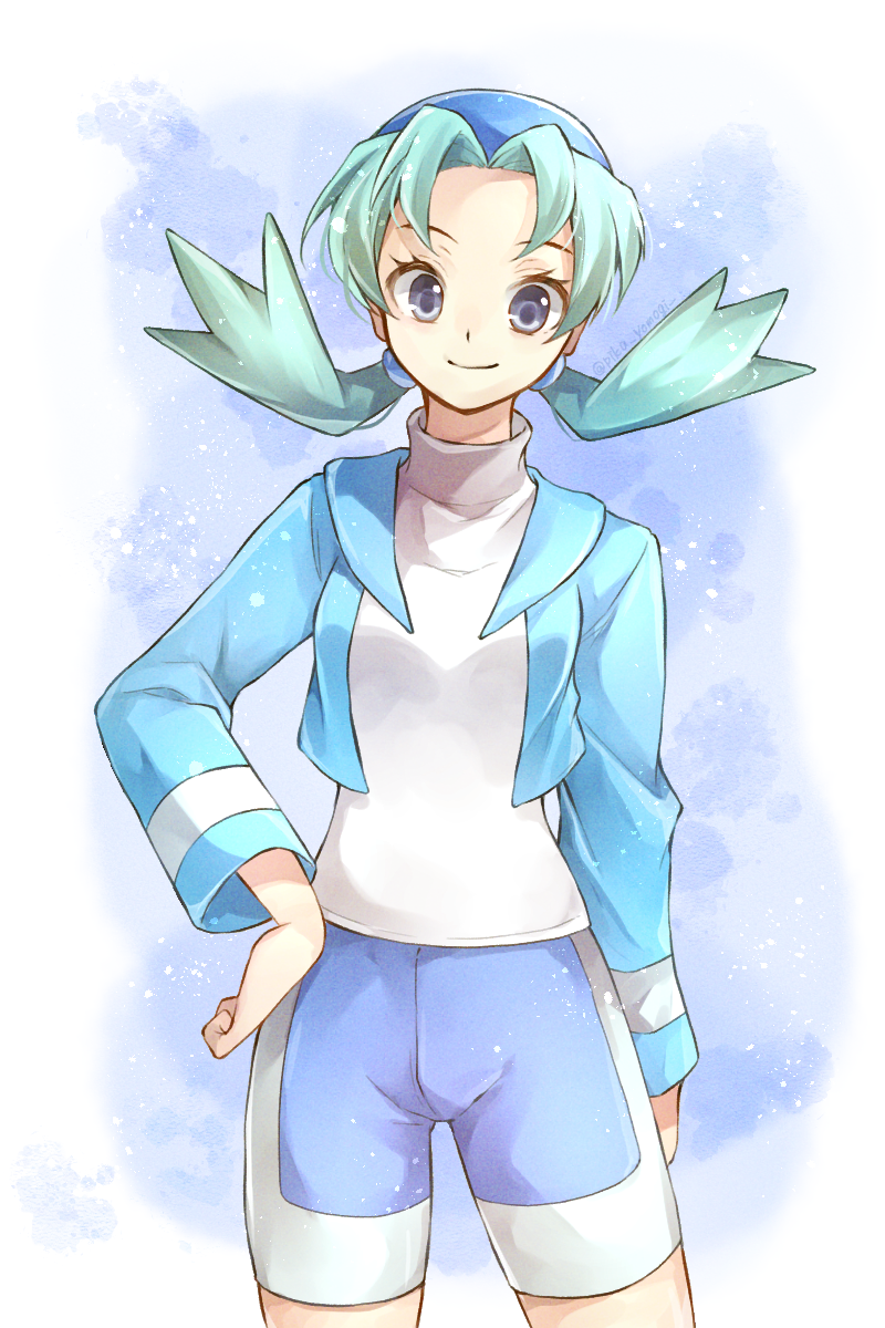 1girl alternate_color bike_shorts blue_eyes blue_hair blue_headwear blue_jacket blue_shorts closed_mouth hair_intakes hand_on_hip highres jacket kris_(pokemon) long_hair long_sleeves looking_at_viewer low_twintails open_clothes open_jacket pokemon pokemon_(game) pokemon_gsc shorts smile solo standing sweater turtleneck turtleneck_sweater twintails white_sweater yomogi_(black-elf)