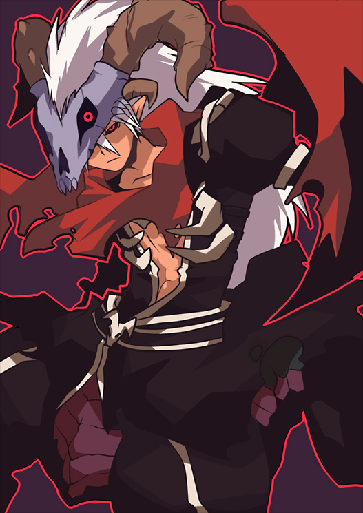 1boy armor assassin_cross_(ragnarok_online) bangs black_cape black_sclera black_shirt cape closed_mouth colored_sclera commentary_request emon-yu feet_out_of_frame hair_between_eyes horns long_hair monster_boy open_clothes open_shirt outline pauldrons purple_background ragnarok_online red_eyes red_outline red_scarf scarf shirt shoulder_armor simple_background skull skull_on_head solo taur torn_cape torn_clothes torn_scarf waist_cape white_hair