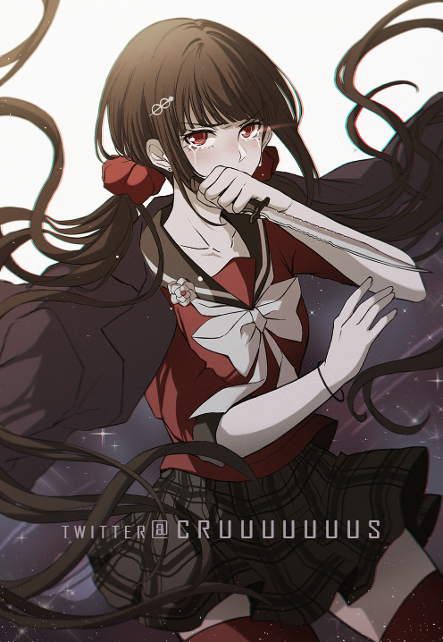 1girl bangs blunt_bangs bow brown_hair collarbone covered_mouth criis-chan crying crying_with_eyes_open dangan_ronpa_(series) dangan_ronpa_v3:_killing_harmony floating_hair grey_bow hair_ornament hair_scrunchie hairclip hand_up happy_birthday harukawa_maki holding holding_weapon jacket jacket_on_shoulders knife long_hair long_sleeves looking_at_viewer low_twintails messy_hair mole mole_under_eye plaid plaid_skirt pleated_skirt red_eyes red_legwear red_scrunchie red_shirt sailor_collar school_uniform scrunchie shirt skirt sleeves_past_elbows solo symbol_commentary tears thigh-highs twintails very_long_hair weapon zettai_ryouiki