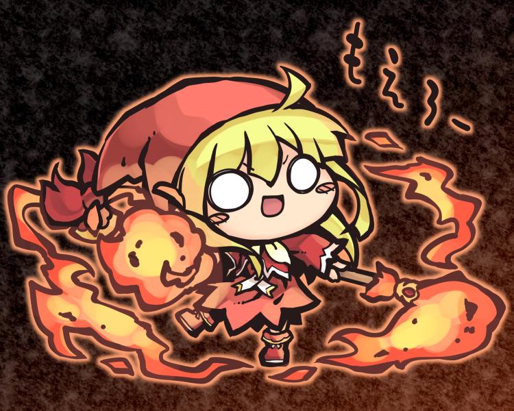 1girl broom broom_riding chibi dress embers fire flame floating glowing hat holding holding_broom long_hair magic nekoguruma no_pupils puyopuyo puyopuyo_quest solo wide_face witch witch_(puyopuyo) witch_hat