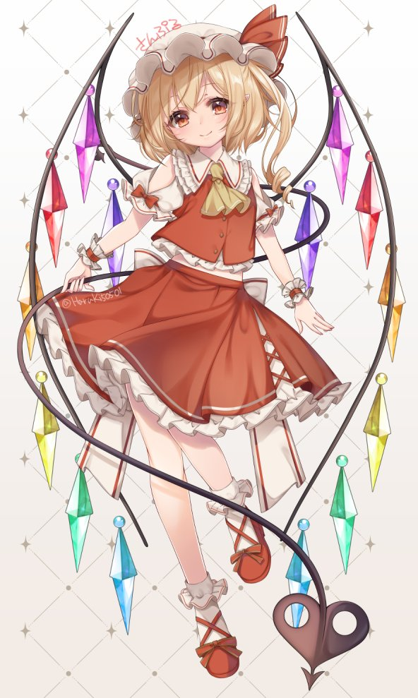 1girl ascot bangs blonde_hair bobby_socks buttons closed_mouth clothing_cutout commentary_request crystal drill_hair flandre_scarlet flat_chest frilled_shirt_collar frills full_body haruki_(colorful_macaron) hat hat_ribbon holding holding_polearm holding_weapon laevatein light_blush looking_at_viewer midriff_peek mob_cap one_side_up petticoat pointy_ears polearm puffy_short_sleeves puffy_sleeves red_eyes red_footwear red_ribbon red_skirt red_vest ribbon short_hair short_sleeves shoulder_cutout simple_background skirt smile socks solo standing standing_on_one_leg touhou twitter_username vest weapon white_background white_headwear wings wrist_cuffs yellow_neckwear