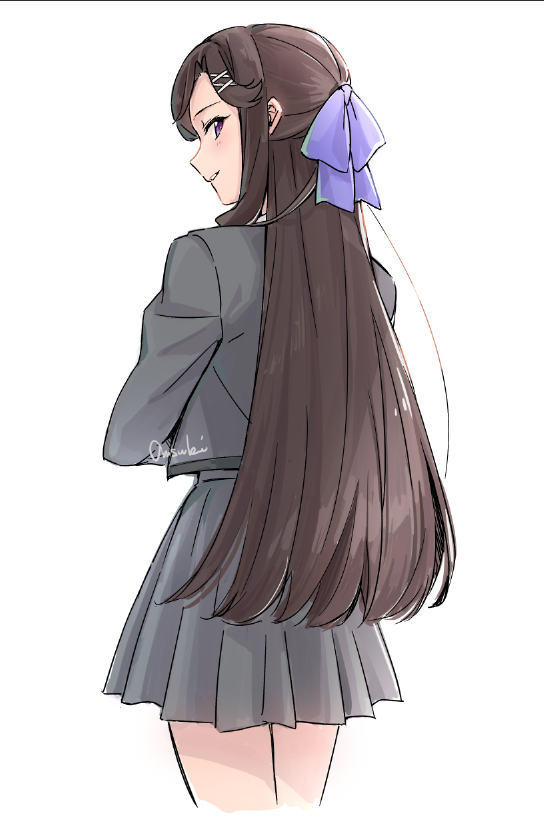 1girl bangs bow brown_hair cowboy_shot crossed_arms from_behind grey_jacket grey_skirt hair_bow hair_ornament jacket long_hair looking_at_viewer omsubi parted_lips pleated_skirt purple_bow red_eyes school_uniform seishou_music_academy_uniform shoujo_kageki_revue_starlight sidelocks signature simple_background skirt solo swept_bangs tendou_maya tsurime very_long_hair white_background x_hair_ornament