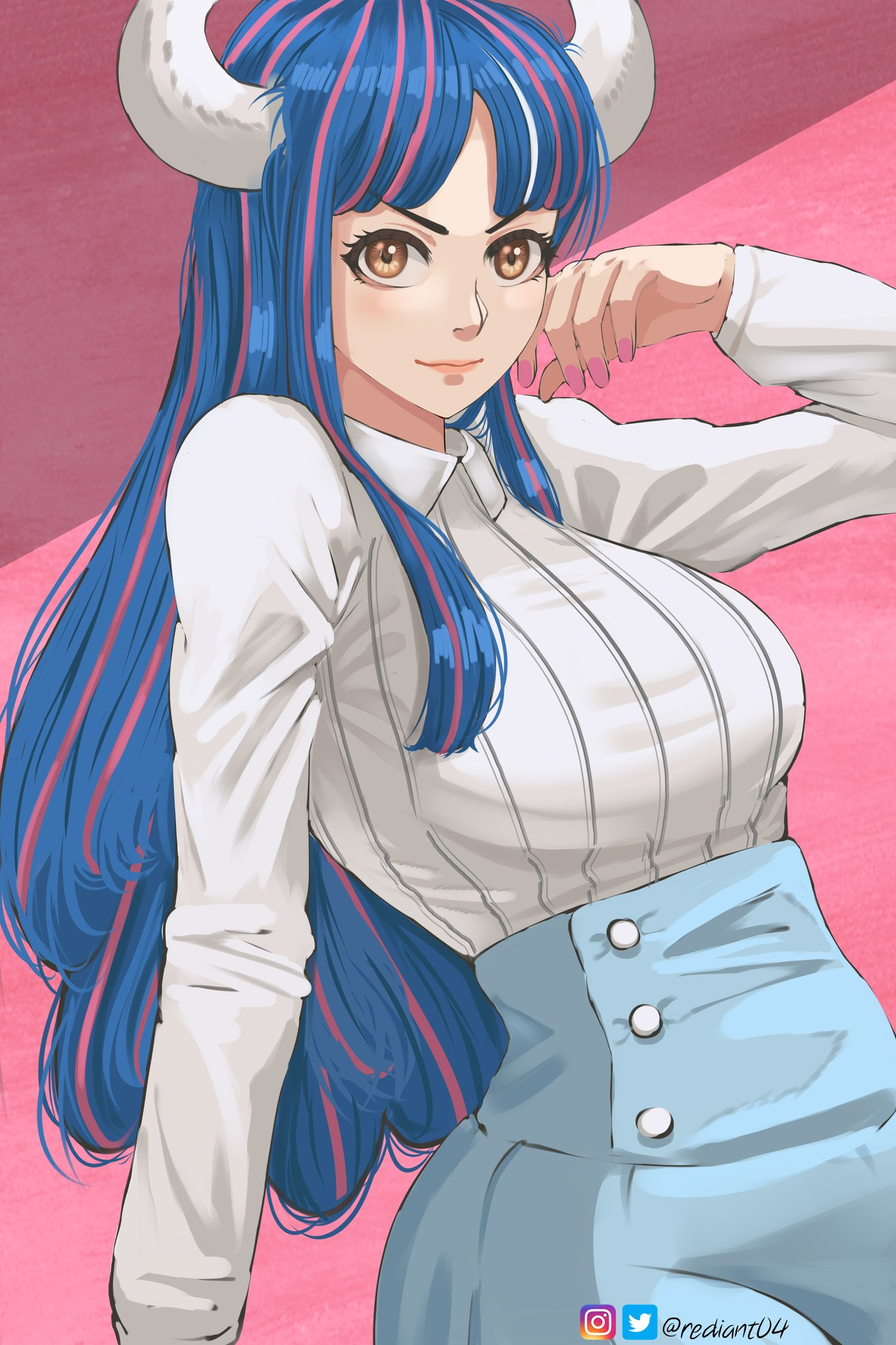 1girl artist_name bangs blue_hair blue_skirt brown_eyes buttons closed_mouth collared_shirt hand_up highres horns lips long_hair long_sleeves multicolored_hair nail_polish one_piece pink_background pink_hair pink_nails rediant04 ribbed_shirt shadow shirt simple_background sitting skirt solo twitter_username two-tone_hair ulti_(one_piece) white_shirt