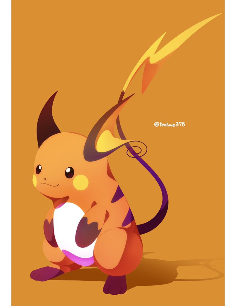 brown_eyes closed_mouth commentary_request full_body gen_1_pokemon jacknaiff no_humans orange_background paws pillarboxed pokemon pokemon_(creature) raichu smile standing toes twitter_username