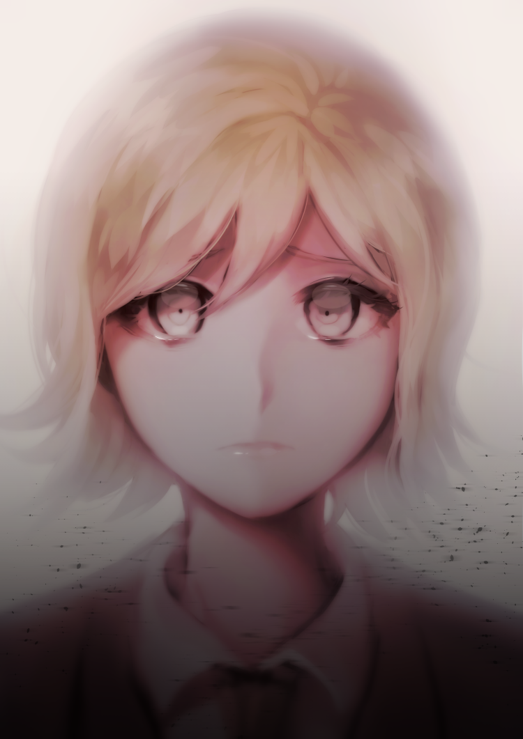1boy androgynous bangs blonde_hair brown_hair closed_mouth collared_shirt commentary_request dangan_ronpa_(series) dangan_ronpa_3_(anime) expressionless face formal gradient gradient_background grey_background grey_eyes hiru_(hyerrr) jacket looking_at_viewer male_focus mitarai_ryouta necktie portrait shirt short_hair solo white_background