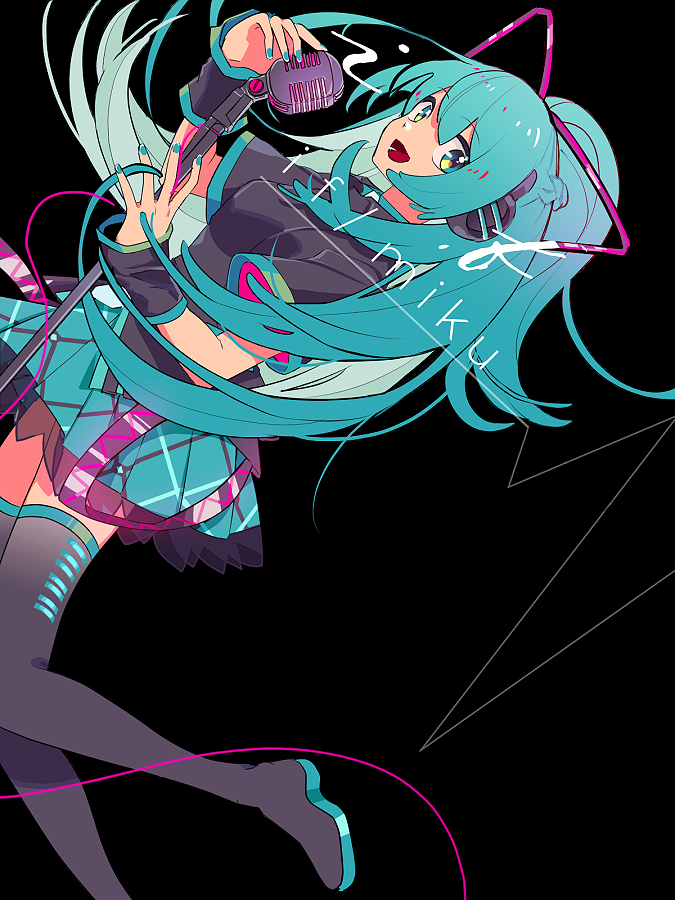 1girl aqua_eyes aqua_hair aqua_nails aqua_skirt belt black_background black_belt black_footwear black_wristband boots breasts cable character_name colorful dutch_angle eyebrows_visible_through_hair fingernails floating_hair foot_out_of_frame foot_up hair_ribbon hands_up happy hatsune_miku hatsune_miku_(if) headphones high_ponytail knees_together_feet_apart leaning_back looking_at_viewer medium_breasts microphone microphone_cord microphone_stand open_mouth plaid plaid_skirt pleated_skirt ponytail ribbon sidelocks sideways_glance simple_background skirt smile solo thigh-highs thigh_boots two-sided_fabric vocaloid wokichi wristband zettai_ryouiki