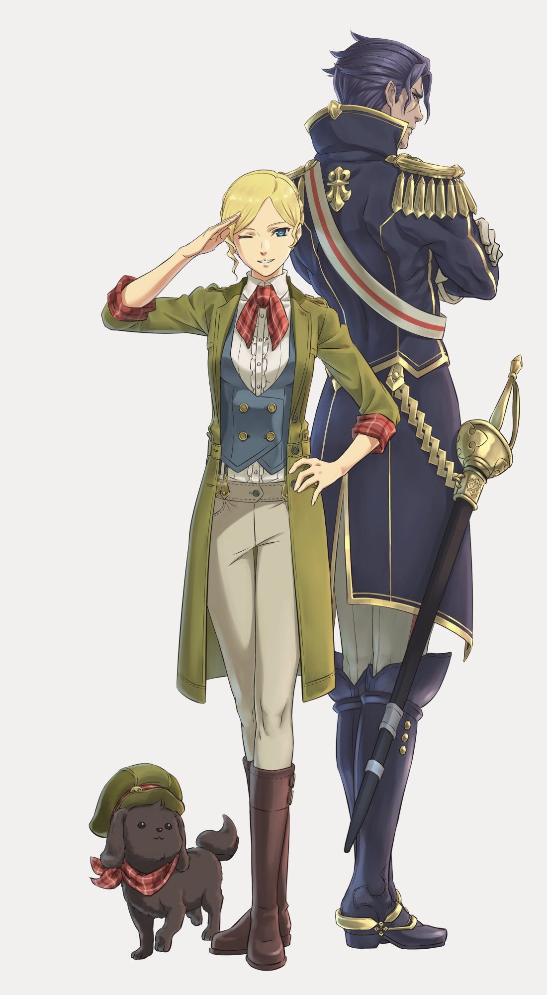 1boy 1girl back-to-back barok_van_zeiks beige_pants blonde_hair blue_eyes blue_jacket boots brown_dog brown_footwear buttons center_frills coat crossed_arms dai_gyakuten_saiban dog double-breasted epaulettes frills full_body gina_lestrade gloves gold_trim green_coat green_headwear gyakuten_saiban hachi_kou highres jacket looking_at_viewer looking_back one_eye_closed pants puppy purple_footwear purple_hair purple_jacket red_neckwear saber_(weapon) sheath sheathed shirt short_hair simple_background suspenders sword weapon white_background white_gloves white_pants white_shirt