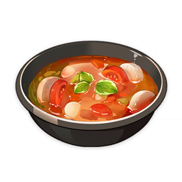 artist_request bowl commentary english_commentary food food_focus genshin_impact leaf lowres no_humans official_art radish soup still_life third-party_source tomato transparent_background vegetable