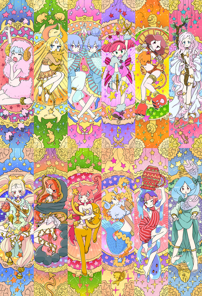 6+girls :3 :o ahoge animal_ears anklet aqua_hair aquarius aries arm_up arms_up arrow_(projectile) arthropod_girl bangs barefoot blonde_hair blue_eyes blue_footwear blue_hair bow bow_(weapon) braid branch breasts cancer capricorn centaur clenched_teeth closed_mouth dress earrings facial_hair facial_mark fish food forehead_mark fruit gemini grapes green_eyes grin hair_between_eyes hair_bow hair_bun hair_ornament hairband hand_to_hand holding holding_arrow holding_scissors holding_weapon hood hood_up hooves horns horoscope jewelry leaf leg_up leo libra long_hair long_sleeves mermaid mokeo monster_girl multiple_girls navel nude one_eye_closed open_mouth original paper paw_boots pink_eyes pink_footwear pink_hair pisces red_eyes redhead sagittarius sandals scissors scorpio scorpion_girl scorpion_tail sheep short_hair side_braids slime_(substance) smile sparkle star_(symbol) star_hair_ornament stretch striped tail taur taurus tears teeth twin_braids vase very_long_hair virgo wavy_mouth weapon weighing_scale wide_sleeves yawning yellow_eyes