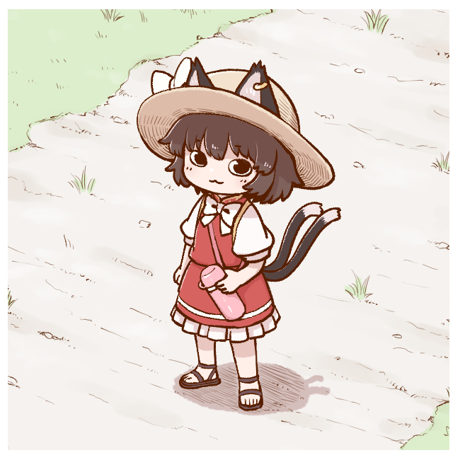 1girl :3 alternate_headwear animal_ears ankle_strap arm_at_side bangs black_eyes black_footwear border bow bowtie brown_hair cat_ears cat_girl cat_tail chen closed_mouth dirt_road earrings ears_through_headwear eyebrows_visible_through_hair frills from_above from_side full_body grass hat hat_bow hatching_(texture) high_collar holding hoop_earrings jewelry linear_hatching looking_at_viewer looking_to_the_side looking_up mandarin_collar medium_skirt multiple_tails nekomata no_nose outdoors path poronegi puffy_short_sleeves puffy_sleeves red_skirt red_vest road sandals shadow short_hair short_sleeves shoulder_strap single_earring skirt skirt_set smile solo standing straw_hat sun_hat tail thermos touhou vest white_border white_bow white_neckwear