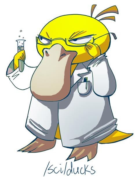4chan adjusting_glasses artist_request glasses labcoat no_humans pen pokemon pokemon_(creature) psyduck pun science simple_background test_tube white_background
