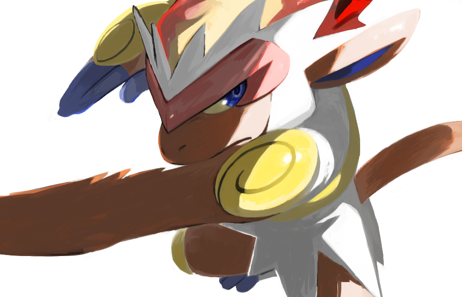blue_eyes brown_fur closed_mouth colored_sclera gen_4_pokemon hand_up infernape kochi8i outstretched_arm pokemon pokemon_(creature) simple_background solo toes white_background yellow_sclera