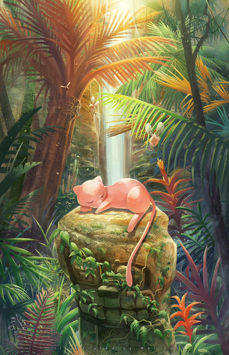 artist_name closed_eyes commentary_request cutiefly day flying gen_1_pokemon gen_7_pokemon highres leaf lying mei_ford mew moss mythical_pokemon no_humans outdoors plant pokemon pokemon_(creature) sleeping toes water waterfall
