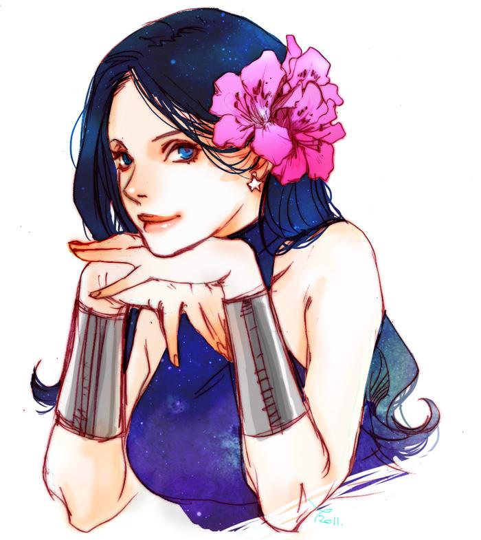 1girl 89g artist_name black_hair blue_eyes bracelet dc_comics donna_troy earrings flower hair_flower hair_ornament jewelry long_hair looking_at_viewer solo sparkle teen_titans white_background