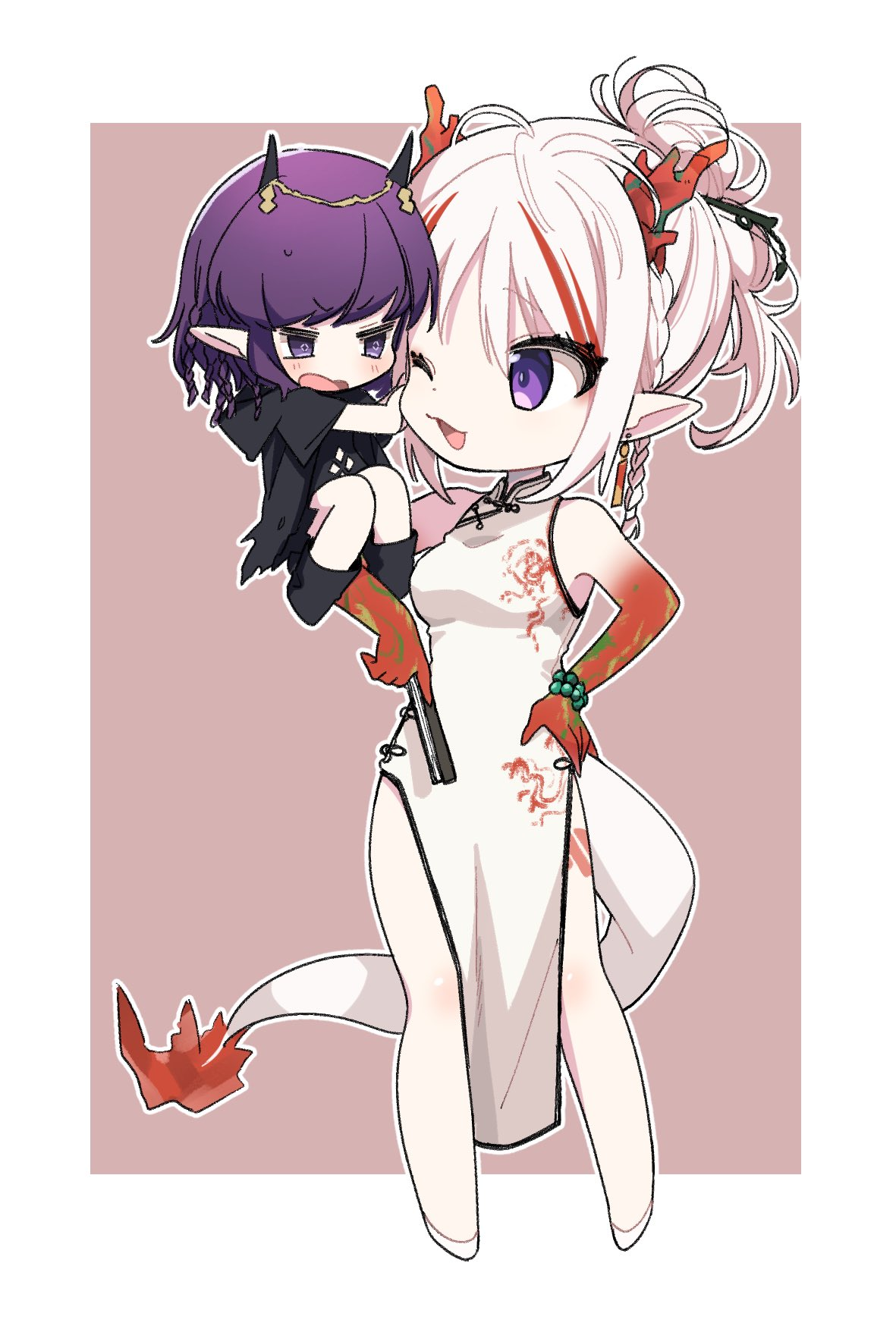 1919_decoy 2girls ahoge arknights arm_tattoo bare_shoulders black_footwear black_jacket border braid brown_background chibi china_dress chinese_clothes commentary demon_horns dragon_girl dragon_horns dragon_tail dress ear_piercing folded_ponytail highres hood hood_down horns jacket lava_(arknights) lava_the_purgatory_(arknights) multiple_girls nian_(arknights) nian_(unfettered_freedom)_(arknights) official_alternate_costume one_eye_closed open_mouth outside_border pelvic_curtain piercing pointy_ears purple_hair red_skirt sitting_on_shoulder skirt sleeveless sleeveless_dress tail tattoo thigh_tattoo violet_eyes white_border white_dress white_footwear white_hair