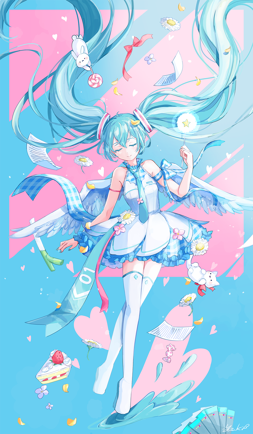 1girl adapted_costume angel_wings arm_at_side arm_ribbon armlet armpit_crease bare_arms black_skirt blue_eyelashes blue_hair blue_nails blue_neckwear blue_theme blue_wings boots breasts cake cake_slice candy candy_wrapper closed_eyes closed_mouth colored_eyelashes cream dot_nose dress dress_flower facing_viewer feathered_wings fingernails floating floating_hair flower food frilled_dress frills fruit full_body glowing hair_between_eyes hand_up hatsune_miku head_tilt heart heart_background high_collar highres holding holding_candy holding_food holding_lollipop holding_wand layered_dress light_blue_background light_particles light_smile limited_palette lollipop long_hair necktie paper pastel_colors petals pink_flower pink_theme plaid plaid_dress plaid_ribbon pleated_skirt red_ribbon ribbon short_dress signature simple_background skirt sleeveless sleeveless_dress small_breasts solo spring_onion star_wand strawberry strawberry_shortcake striped striped_background stuffed_animal stuffed_bunny stuffed_cat stuffed_toy swirl_lollipop thigh-highs thigh_boots triangle twintails vocaloid wand white_flower white_footwear wings yutukicom zettai_ryouiki
