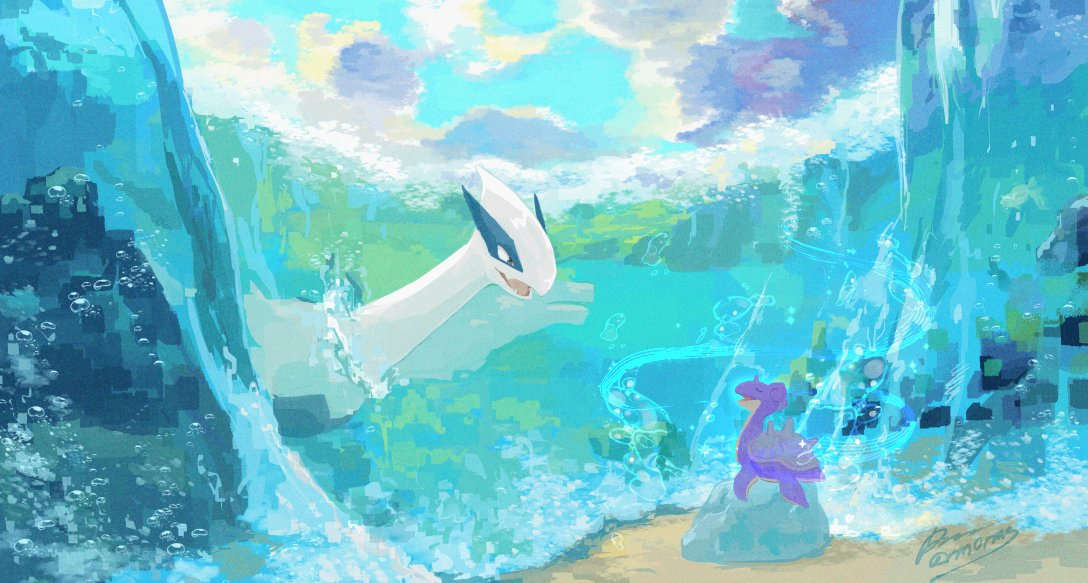 air_bubble alternate_color black_eyes bubble clouds day gen_1_pokemon gen_2_pokemon lapras legendary_pokemon looking_at_another lugia no_humans open_mouth outdoors pokemon pokemon_(creature) rock sagemaru-br shiny_pokemon signature sky smile symbol-only_commentary tongue water