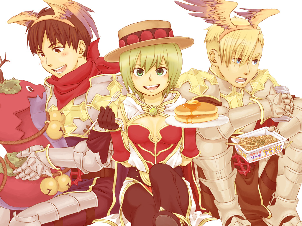 1girl 2boys armor bangs bell black_footwear black_gloves blonde_hair blue_eyes blush boitata breastplate brown_eyes brown_hair butter cape chainmail champion_(ragnarok_online) championship_belt coat commentary_request cross fake_wings feet_out_of_frame food fork gauntlets gloves godiva_chocolatier gradient gradient_wings green_eyes green_hair hairband head_wings holding holding_fork holding_plate jingle_bell leg_armor looking_at_viewer looking_to_the_side lord_knight_(ragnarok_online) multicolored multicolored_wings multiple_boys noodles nyt_(1-0-z) open_clothes open_coat open_mouth orange_wings pancake pauldrons plate purple_wings ragnarok_online ramen red_cape red_gloves red_scarf scarf short_hair shoulder_armor sleeveless_coat smile snake spiked_gauntlets syrup tabard two-tone_gloves white_coat winged_hairband wings