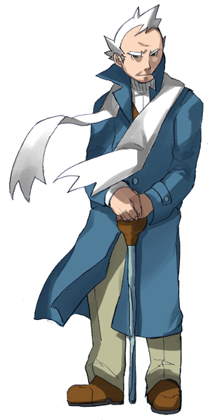 1boy blue_coat brown_footwear buttons cane closed_mouth coat commentary_request full_body green_pants holding holding_cane long_sleeves looking_at_viewer male_focus maou_abusorun old old_man pants pokemon pryce_(pokemon) scarf shoes short_hair solo white_hair white_scarf