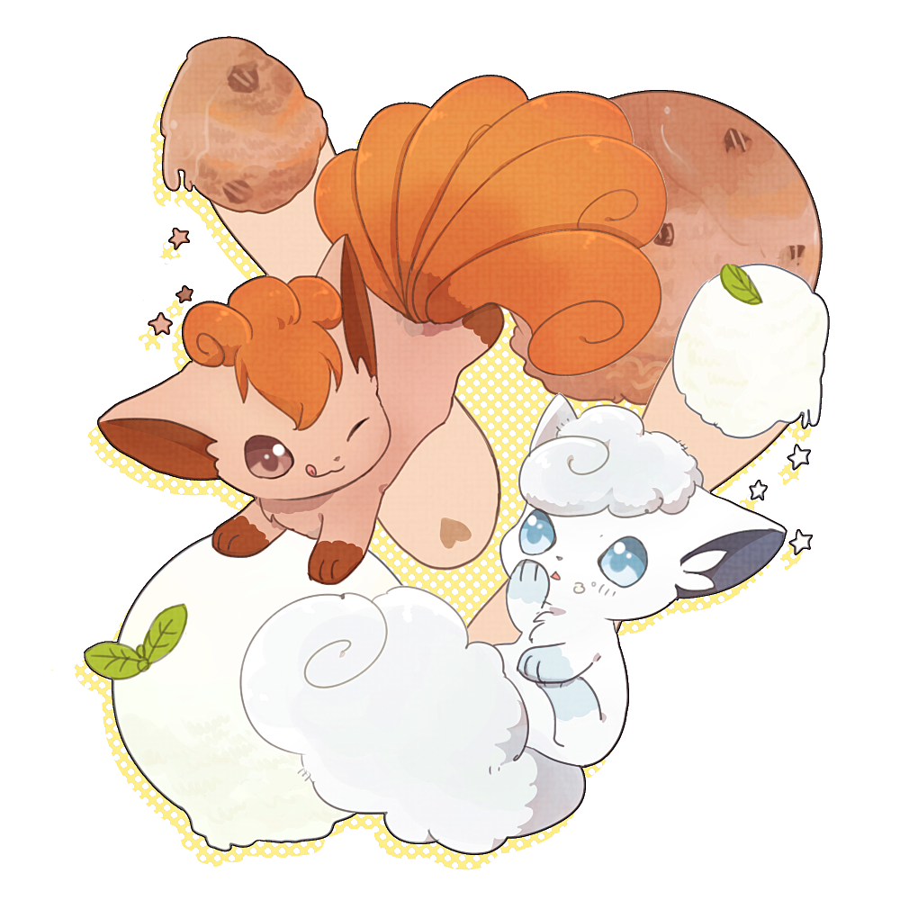 :q alolan_form alolan_vulpix blue_eyes blush brown_eyes closed_mouth commentary_request food food_on_face gen_1_pokemon gen_7_pokemon ice_cream leaf nao_(naaa_195) no_humans one_eye_closed pokemon pokemon_(creature) smile star_(symbol) tongue tongue_out vulpix white_fur