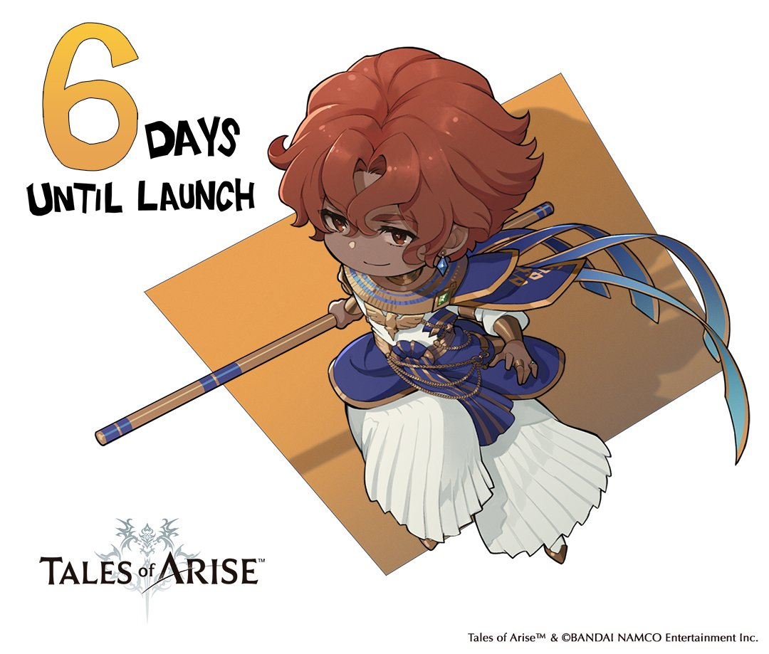 1boy bracer brown_eyes brown_hair chibi copyright copyright_name countdown dark-skinned_male dark_skin dohalim_(tales) earrings english_text jewelry logo official_art pleated_pants ring short_hair smile solo staff tales_of_(series) tales_of_arise